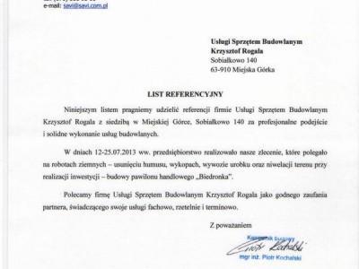maszyny budowlane Krzysztof Rogala referencje REFERENCJe