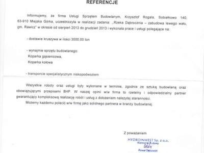 maszyny budowlane Krzysztof Rogala referencje referencje Hydroinwest